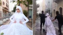 Bride's wedding video interrupted by Beirut explosion
