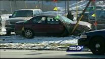 Chase ends with crash into car lot