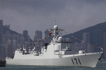 Chinese navy's guided missile destroyer Haikou (171) is seen at the Ngong Shuen Chau Naval Base in Hong Kong in this April 30, 2012 file photo. REUTERS/Tyrone Siu/Files