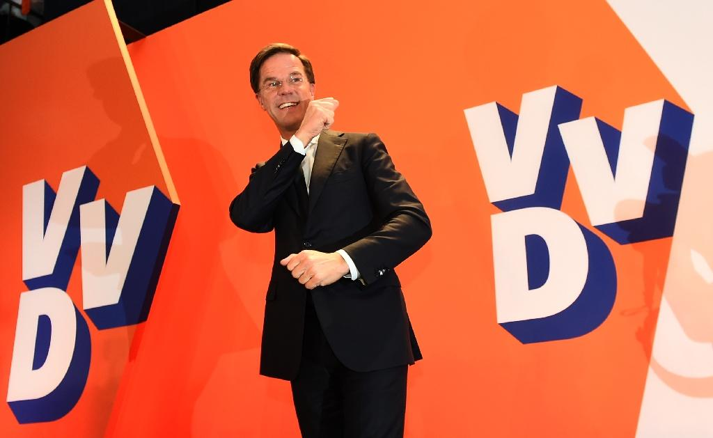 Mark Rutte saw off a strong challenge from the far-right to clinch a third term in power (AFP Photo/JOHN THYS)