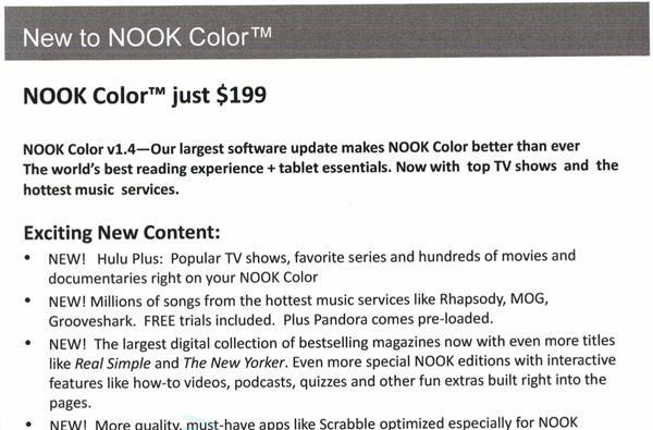B&N cutting Nook Color price to $199, adding Hulu Plus and more streaming music