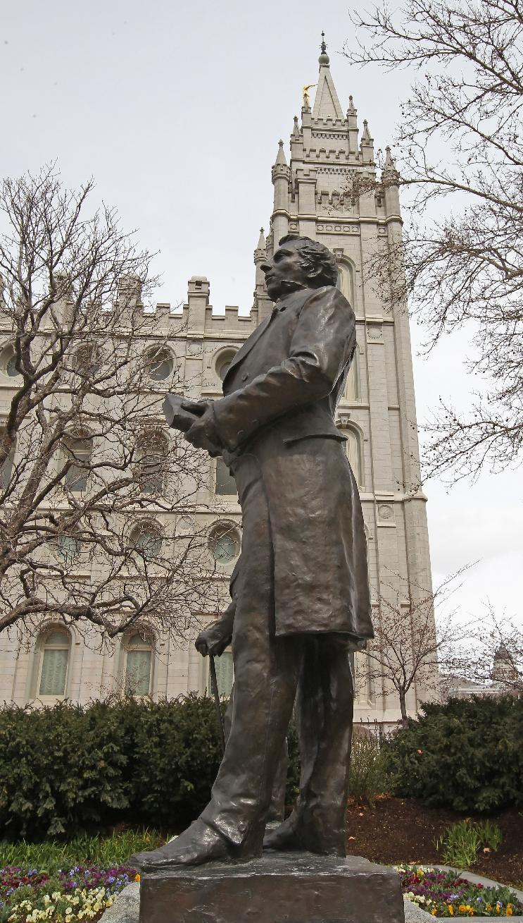 A statue in Salt Lake City, Utah of the founder of the Mormon Church Joseph Smith (1805-1844), who founded the Church of the Latter-day Saints, Mormonism's formal name, and is regarded by followers as a prophet (AFP Photo/George Frey)