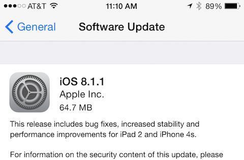 iOS 8.1.1 is here, full of bug fixes, stability and performance enhancements