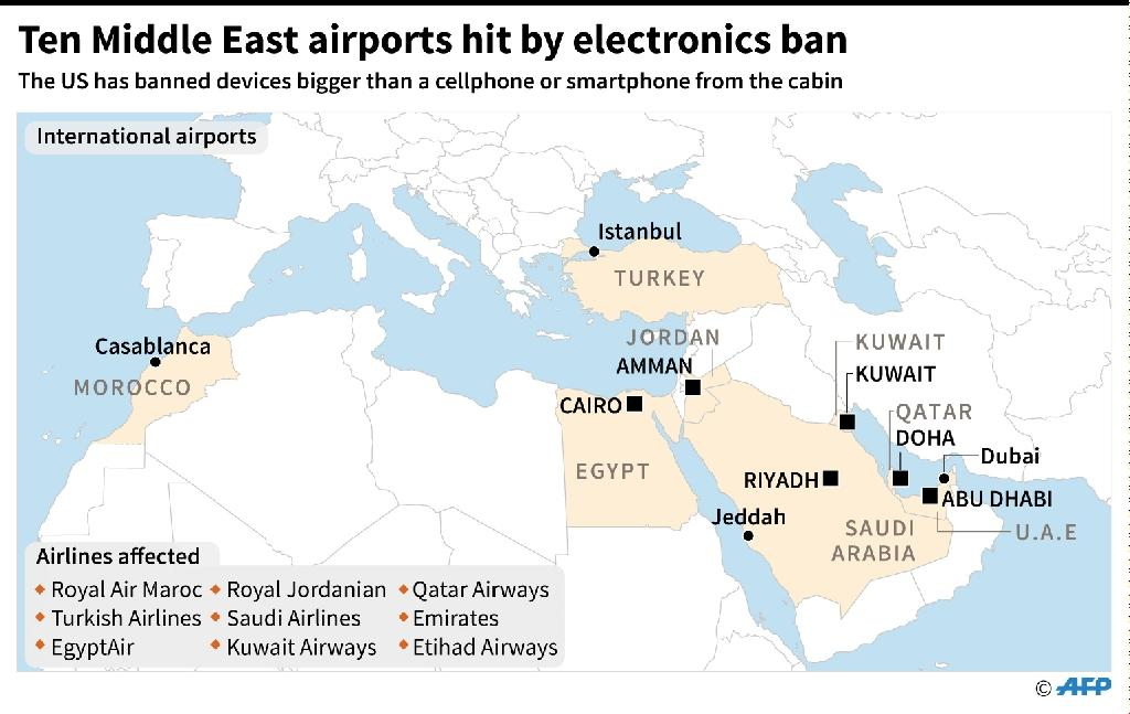 Countries and airlines affected by a US ban on passengers carrying devices bigger than a cellphone or smartphone into the cabin of an aircraft (AFP Photo/Iris ROYER DE VERICOURT, Sébastien CASTERAN)