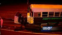 Several hurt in crash between car and party bus