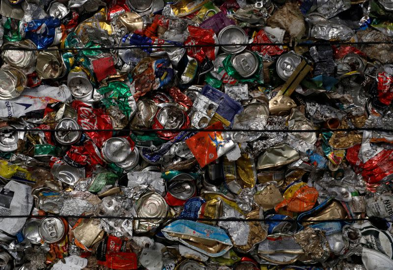 Separate cans are seen at Amarsul plant in Seixal
