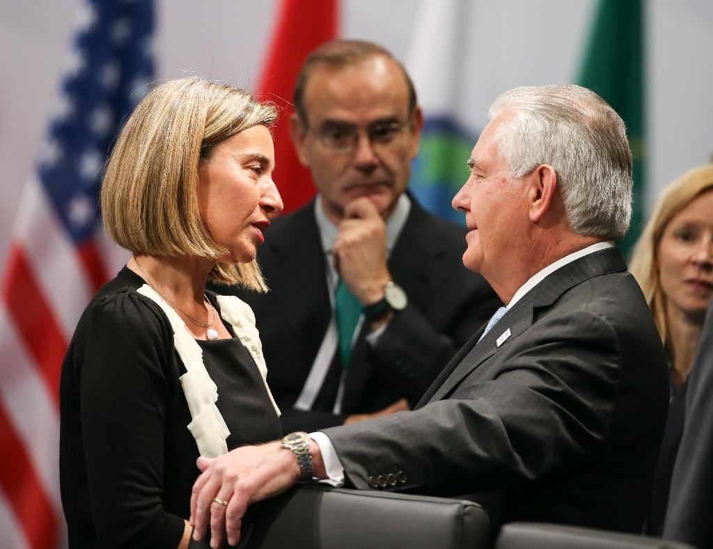 US Secretary of State Rex Tillerson meets EU foreign policy chief Federica Mogherini in Bonn, on February 16, 2017 (AFP Photo/Rolf Vennenbernd)