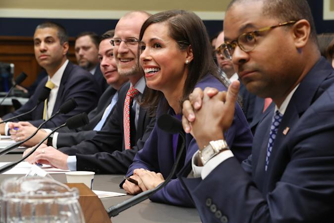 WASHINGTON, DC - DECEMBER 05: Federal Communication Commission Chairman Ajit Pai and commissioners Michael O'Rielly, Brendan Carr, Jessica Rosenworcel and Geoffrey Starks testify before the House Energy and Commerce Committee's Communications and Technology Subcommittee in the Rayburn House Office Building on Capitol Hill December 05, 2019 in Washington, DC. All five of the FCC commissioners testified before the subcommittee, which is tasked with oversight of the commission. (Photo by Chip Somodevilla/Getty Images)