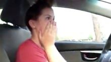 Dad and daughter driving lesson goes hilariously wrong