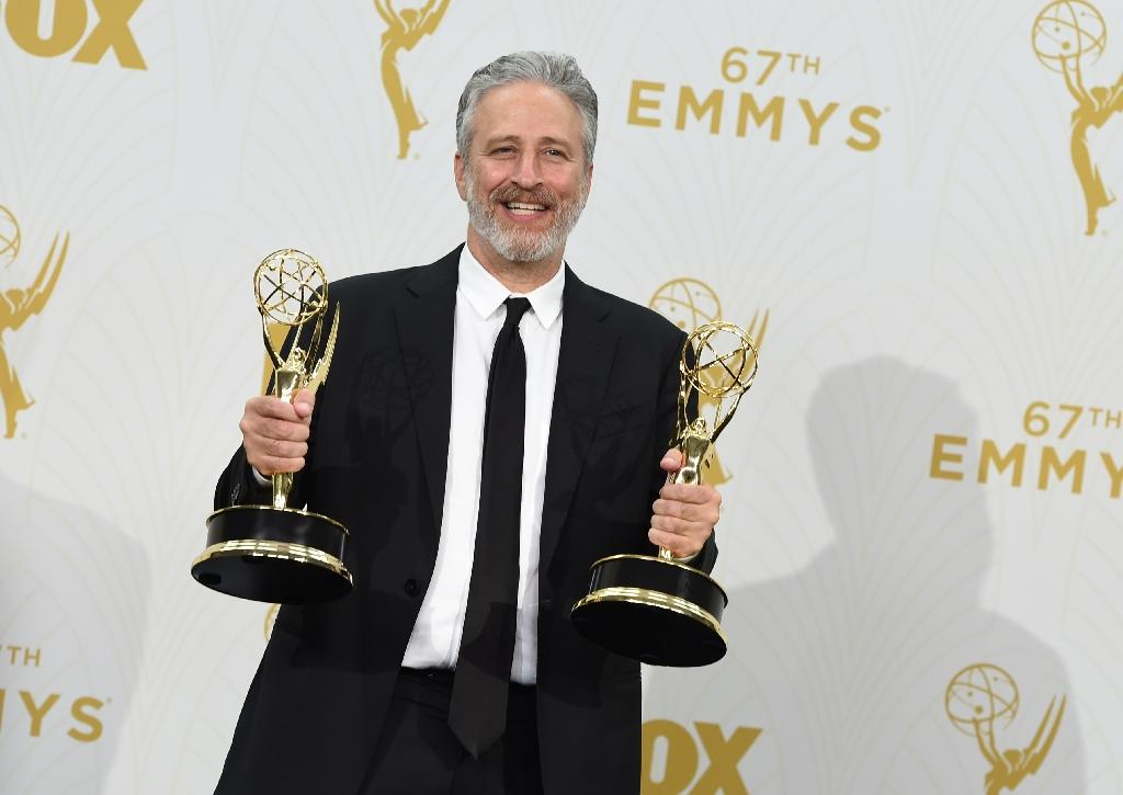 TV personality Jon Stewart, with his Emmy Awards pictured on September 20, 2015, is starting a sanctuary for abused farm animals