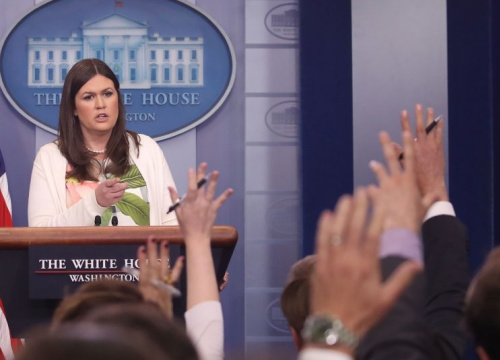 White House deputy press secretary Sarah Huckabee Sanders speaks during an earlier, on-camera briefing.