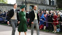 Heavily pregnant Pippa Middleton attends Princess Eugenie's wedding