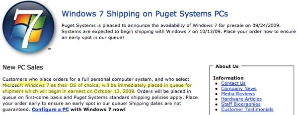 Windows 7 to ship early from custom PC makers