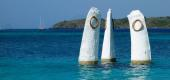 The trident logo of the Club Med is seen at Les Boucaniers vacation resort at Saint Anne in the French Caribbean island of Martinique, France. (Reuters)