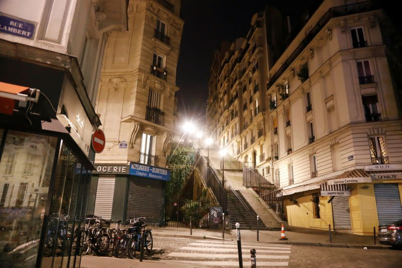 Empty streets are seen in Montmartre during the late-night curfew due to restrictions against the spread of the coronavirus disease (COVID-19) in Paris