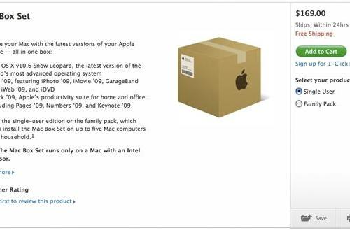 Snow Leopard box set makes short-lived cameo in Apple's online store