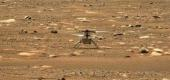 NASA's Ingenuity Mars Helicopter successfully completed a high-speed spin-up test, captured by the Mastcam-Z instrument on Perseverance, April 16. (NASA/JPL-Caltech/ASU/AFP via Getty Images)