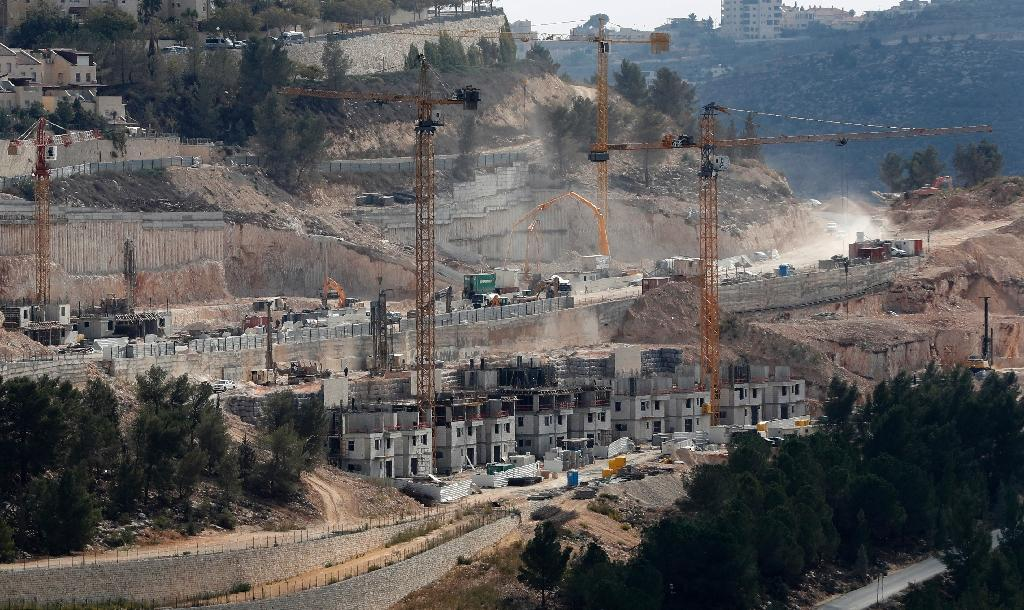 A picture taken on November 8, 2017 shows a general view of construction work in Gilo, a Jewish settlement in the mainly Palestinian eastern sector of Jerusalem
