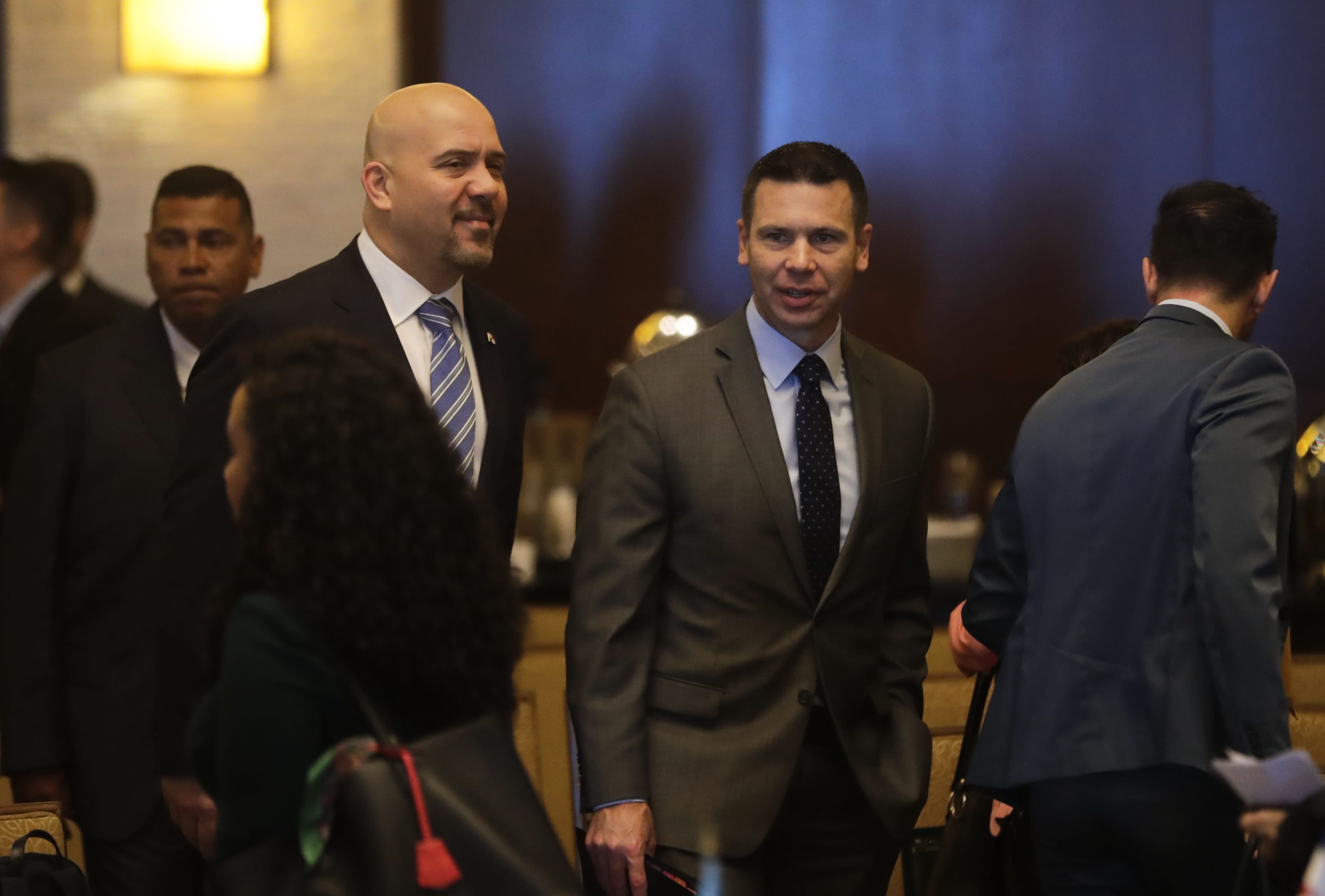 Acting U.S. Homeland Security Secretary Kevin McAleenan, center, and Rolando Mirones, left, Panama's Security Minister arrive to a meeting with Central American and Colombia's security ministers in Panama City, Thursday, Aug. 22, 2019. McAleenan is in Panama to discuss drug trafficking and migrant smuggling, though he says he isn't seeking any specific agreement during the visit. (AP Photo/Arnulfo Franco)
