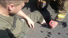 Meltdown! Heatwave softens tarmac on Britain's roads, causing vehicles to sink