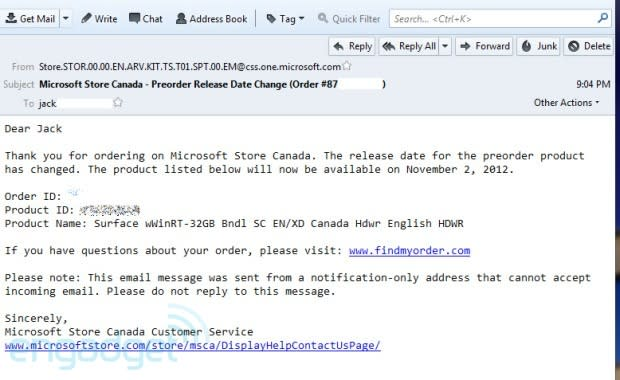 Microsoft Surface pre-orders in Canada, UK are not delayed (Update)