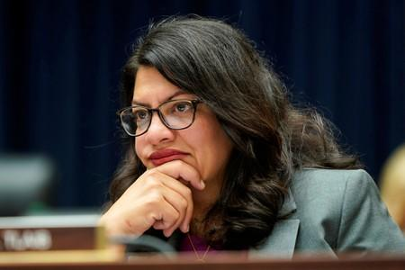 Rep. Rashida Tlaib (D-MI) listens as David Marcus, CEO of Facebook's Calibra, testifies to the House Financial Services Committee in Washington.