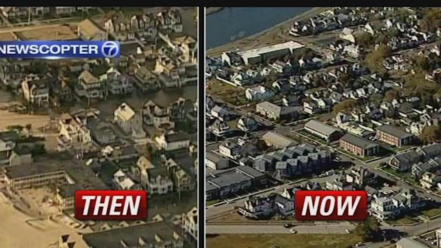 Aerial view of hard-hit areas before and after Sandy