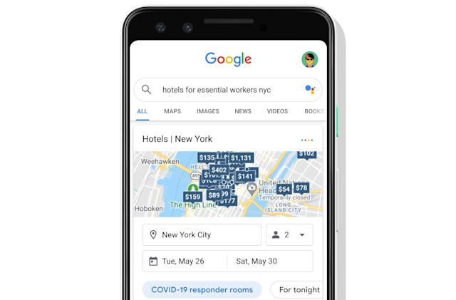 Google Maps helps healthcare workers find hotels