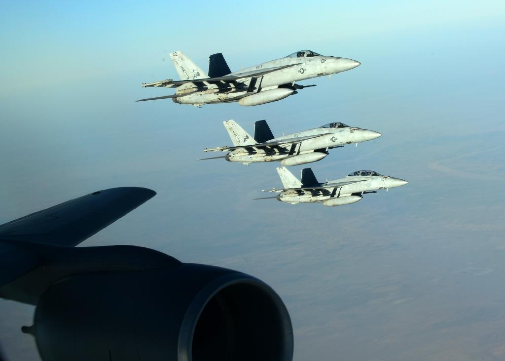 The coalition says the strike hit an IS headquarters where jihadists were massing for movement