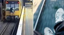 Disturbing video shows 'idiotic' teens playing chicken with trains