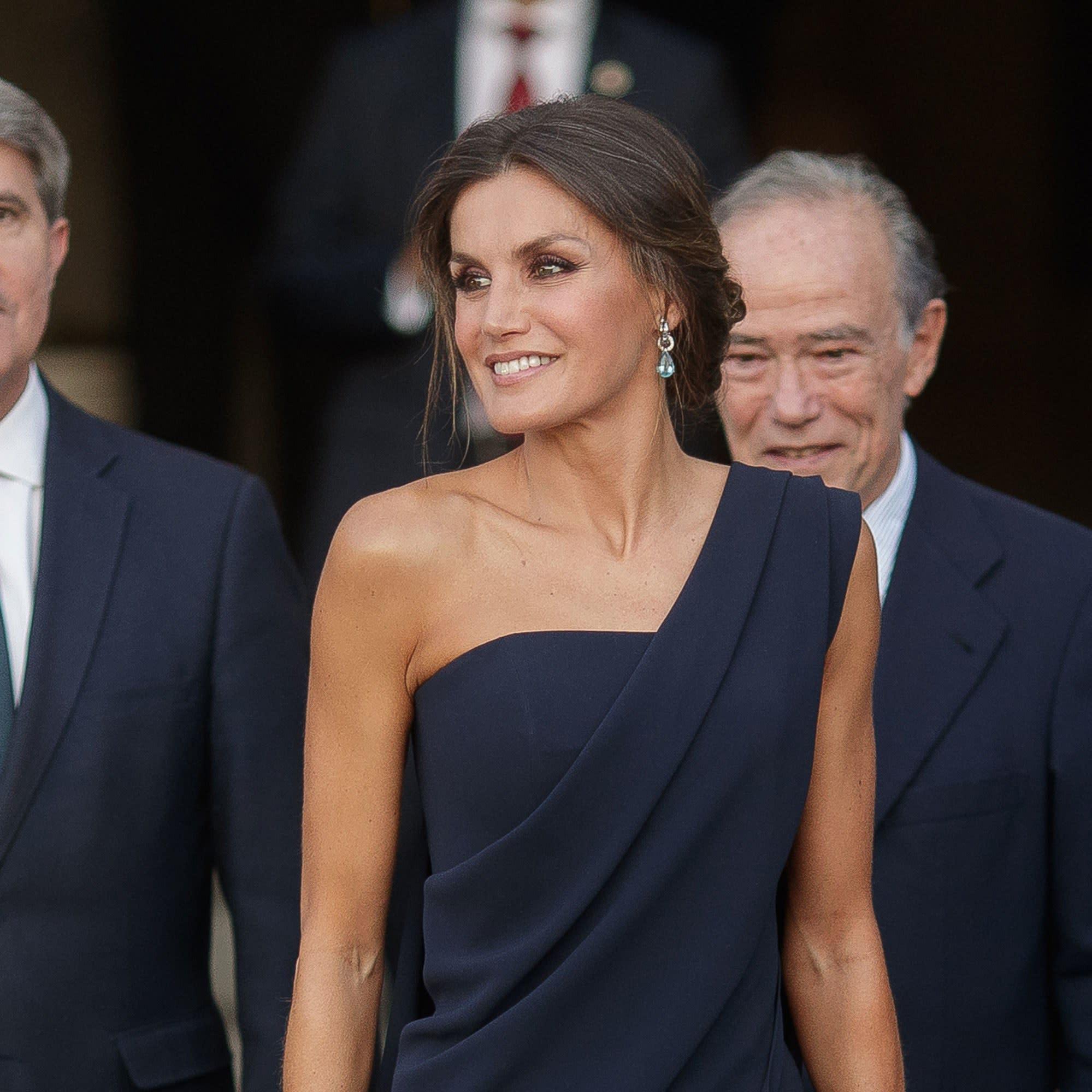 aa14f35ed45c8 Queen Letizia of Spain Reigns in the Black Tie Jumpsuit