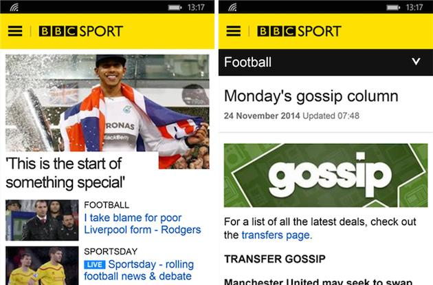 BBC Sport app finally comes to Windows Phone