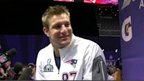 Gronk warms up vocals for Media Day