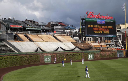 A view of the right field bleachers during renovations in 2015. A Cubs fan is now suing the team after those renovations eliminated wheelchair-accessible sections. (AP)
