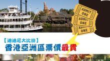 【迪迪尼大比拚】香港亞洲區票價最貴