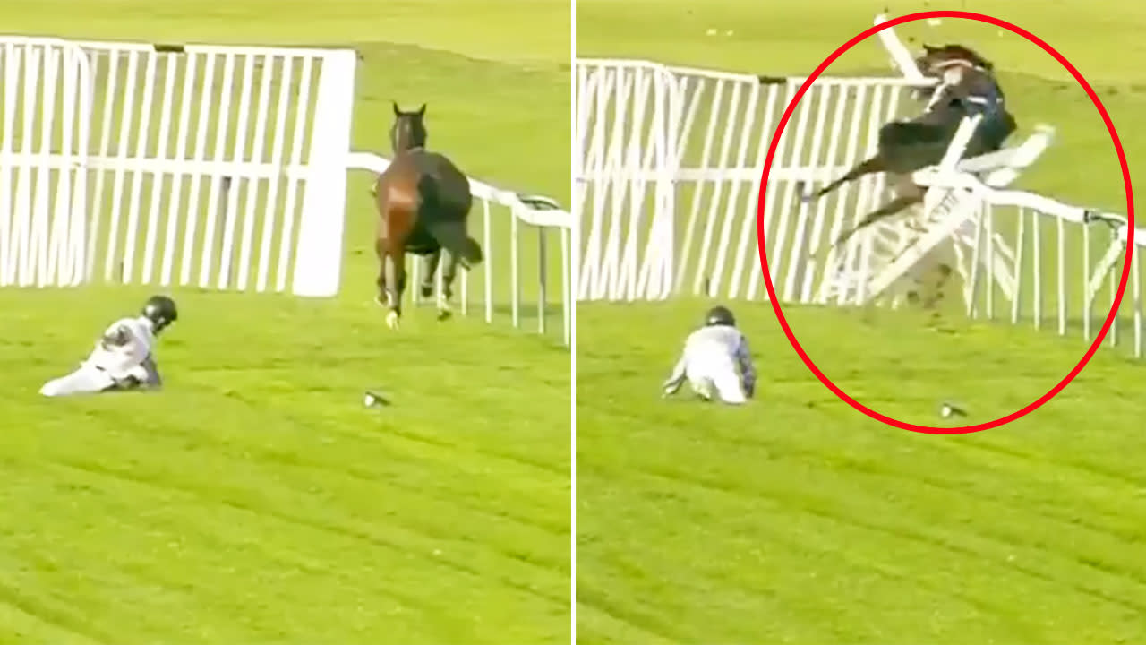 Frightening moment horse ditches jockey and crashes through fence