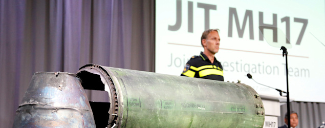 A damaged missile is displayed during a news conference in Bunnik, Netherlands. (Reuters)