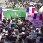 Muslims protest against Macron after French attack