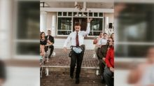 Flower man dazzles at friends' wedding with fanny packs, fall foliage