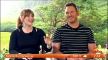 On set with Chris Pratt, Jeff Goldblum and Bryce Dallas Howard