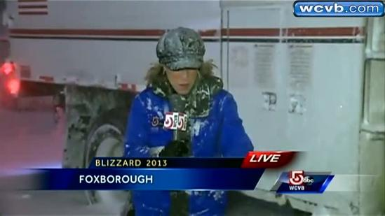 Snow spins reporter in Foxborough
