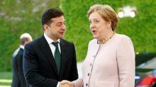 Angela Merkel dismisses health concerns after shaking visibly during visit of new Ukrainian president