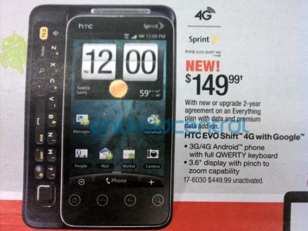 HTC EVO Shift 4G headed for a January 9th launch at $150, according to RadioShack leak