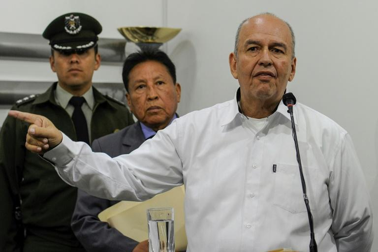 Bolivian Interior Minister Arturo Murillo, pictured on November 20, 2019, says he is seeking the 'maximum penalty' for ex-president Evo Morales (AFP Photo/JORGE BERNAL)
