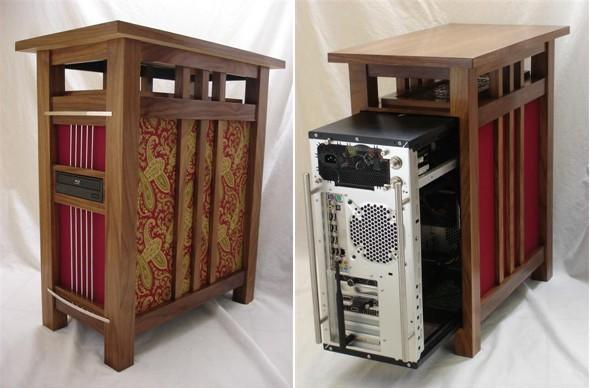 Mission-style PC casemod easily slides into your La-Z-Boy collection
