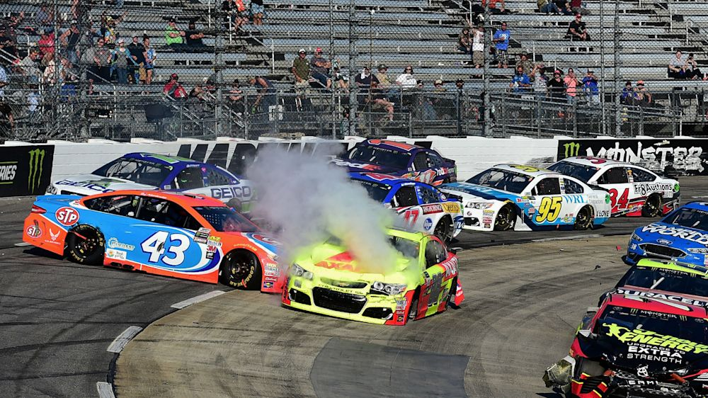 STP 500: Dale Earnhardt Jr. done for day after seven-car wreck involving Denny Hamlin, Danica Patrick