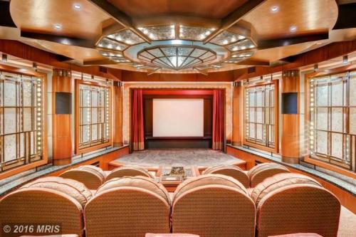 The interior of Ripken's luxury screening room. (Zillow)