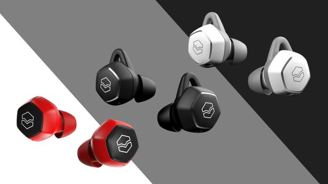 V-Moda Hexamove Lite earbuds in red, black and white