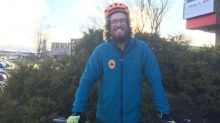 Dumpster-diving and highway riding: Cyclist embarks on unusual cross-American trek