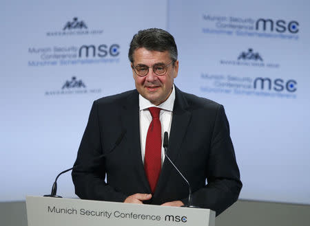 German Foreign Minister Gabriel talks at the Munich Security Conference in Munich